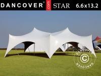 Pole tent 'Star' 6, 6x13, 2x4, 8m, PVC, Weiß