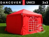 Partyzelt Festzelt Pavillon UNICO 3x3m, Rot