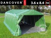 Zeltgarage Lagerzelt Garagenzelt PRO 3, 6x8, 4x2, 68m PVC, mit Bodenplane, Grün/Grau