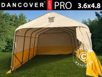 Lager- und Arbeitszelt PRO 3, 6x4, 8x2, 68m, PVC, weiß/gelb, flammfest