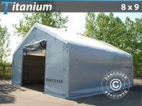Lagerzelt Titanium 8x9x3x5m, Weiß / Grau