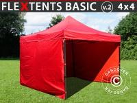 Faltzelt Faltpavillon Wasserdicht FleXtents Basic v.2, 4x4m Rot, mit 4 Seitenwänden