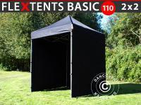 Faltzelt FleXtents Basic 110, 2x2m Schwarz, mit 4 wänden