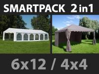 SmartPack 2-in-1-Lösung: Partyzelt festzelt Exclusive 6x12m, weiß/Pavillon 4x4m, Sandfarbe
