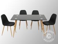 Essgarnitur mit 1 Esstisch Torino, schwarz/Eiche + 4 Essstühle Napoli, schwarz/Eiche