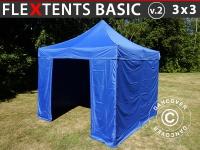 Faltzelt FleXtents Basic v.2, 3x3m Blau, mit 4 wänden
