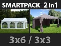 SmartPack 2-in-1-Lösung: Partyzelt festzelt Original 3x6m, weiß/Pavillon 3x3m, Sandfarbe