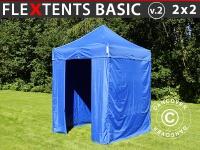 Faltzelt Faltpavillon Wasserdicht FleXtents Basic v.2, 2x2m Blau, mit 4 Seitenwänden