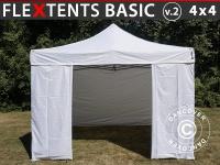Faltzelt FleXtents Basic v.2, 4x4m Weiß, mit 4 wänden