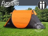Campingzelt pop-up, FlashTents®, 2 Personen, Orange/Dunkelgrau