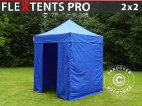 Faltzelt Faltpavillon Wasserdicht FleXtents PRO 2x2m Blau, mit 4 wänden