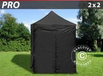 Faltzelt FleXtents PRO 2x2m Schwarz, mit 4 wänden
