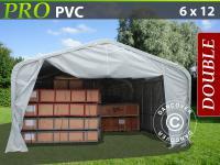 Lagerzelt Garagen PRO 6x12x3, 7m PVC, Grau