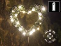 LED-Herz, klein, Garden, 15cm, Grün/Warmweiß, 2 St.