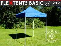 Faltzelt Faltpavillon Wasserdicht FleXtents Basic v.2, 2x2m Blau