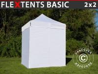 Faltzelt Faltpavillon Wasserdicht FleXtents Basic, 2x2m Weiß, mit 4 wänden