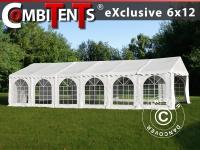 Partyzelt Festzelt Pavillon, Exclusive CombiTents® 6x12m 4-in-1, Weiß