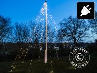 Fahnenmast-Weihnachtsbeleuchtung LED, David, 10x7m, Warmweiß
