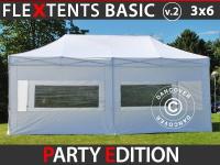 Faltzelt Faltpavillon Wasserdicht FleXtents Basic v.2, 3x6m Weiß, mit 6 Seitenwänden