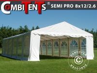 Partyzelt festzelt, SEMI PRO Plus CombiTents® 8x12 (2, 6)m 4-in-1, Weiß