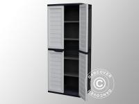 Gartenbox mit Regalen, 75x52, 5x187cm, Schwarz/Grau