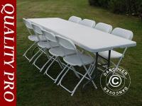 Party-Paket, 1 Klapptisch (242cm) + 8 Klappstühle & 8 Sitzpolster, Hellgrau/Weiß