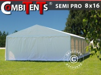 Partyzelt festzelt, SEMI PRO Plus CombiTents® 8x16 (2, 6)m 6-in-1, Weiß