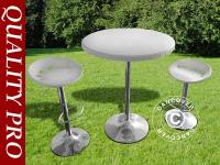 Bar-Set, 1 Bartisch & 2 Barstühle, Weiß