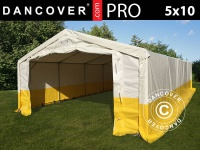Lager- und Arbeitszelt PRO 5x10m, PVC, weiß/gelb, flammfest