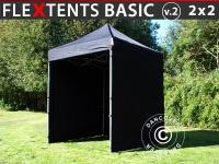 Faltzelt Faltpavillon Wasserdicht FleXtents Basic v.2, 2x2m Schwarz, mit 4 Seitenwänden