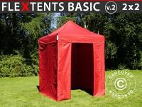 Faltzelt Faltpavillon Wasserdicht FleXtents Basic v.2, 2x2m Rot, mit 4 Seitenwänden