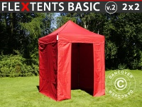 Faltzelt Faltpavillon Wasserdicht FleXtents Basic v.2, 2x2m Rot, mit 4 wänden