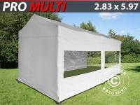 Faltzelt Faltpavillon Wasserdicht FleXtents Multi 2, 83x5, 87m Weiß, mit 6 Seitenwänden