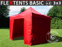 Faltzelt Faltpavillon Wasserdicht FleXtents Basic v.2, 3x3m Rot, mit 4 wänden