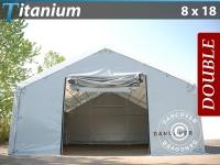 Zelthalle Titanium 8x18x3x5m, Weiß / Grau