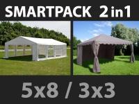 SmartPack 2-in-1-Lösung: Partyzelt festzelt Original 5x8m, weiß/Pavillon 3x3m, Sandfarbe