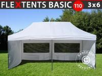 Faltzelt Faltpavillon Wasserdicht FleXtents Basic 110, 3x6m Weiß, mit 6 Seitenwänden