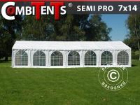 Partyzelt Festzelt Pavillon, SEMI PRO Plus CombiTents® 7x14m 5-in-1, Weiß