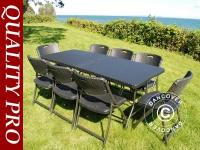 Partypaket, 1 Klapptisch im Rattan-Look (182cm) + 8 Stühle im Rattan-Look, schwarz