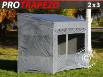 Faltzelt Faltpavillon Wasserdicht FleXtents PRO Trapezo 2x3m Grau, mit 4 Seitenwänden