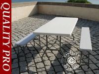 Biertisch-Set, 1 Klapptisch (182 cm) + 2 Bänke (183 cm), Hellgrau