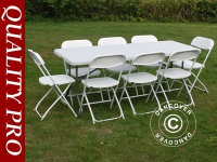 Party-Paket, 1 Klapptisch (182cm) + 8 Klappstühle & 8 Sitzpolster, Hellgrau/Weiß