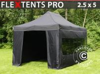 Faltzelt FleXtents PRO 2, 5x5m Schwarz, mit 6 Wänden