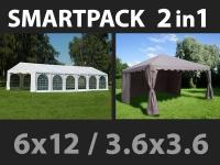 SmartPack 2-in-1-Lösung: Partyzelt festzelt Exclusive 6x12m, weiß/Pavillon 3, 6x3, 6m, Sandfarbe