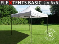 Faltzelt Faltpavillon Wasserdicht FleXtents Basic v.2, 3x3m Weiß