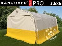 Lager- und Arbeitszelt PRO 3, 6x6x2, 7m, PVC, weiß/gelb, flammfest