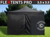Faltzelt FleXtents PRO 3, 5x3, 5m Schwarz, mit 4 wänden