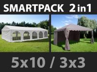 SmartPack 2-in-1-Lösung: Partyzelt festzelt Original 5x10m, weiß/Pavillon 3x3m, Sandfarbe