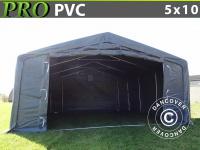 Lagerzelt PRO 5x10x2x2, 9m, PVC, Grau