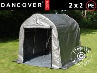 Lagerzelt Zeltgarage Lagerzelt Garagenzelt Garagenzelt PRO 2x2x2m PE, mit Bodenplane, Grau